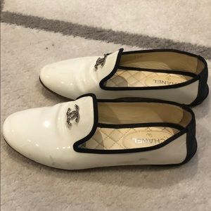 Authentic Chanel flats white patent leather